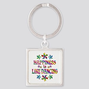 Happiness is Line Dancing Square Keychain