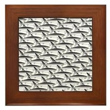 School of Megalodon Sharks Framed Tile