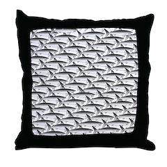 School of Megalodon Sharks Throw Pillow