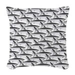 School of Megalodon Sharks Woven Throw Pillow
