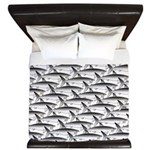 School of Megalodon Sharks King Duvet