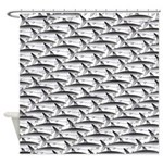 School of Megalodon Sharks Shower Curtain