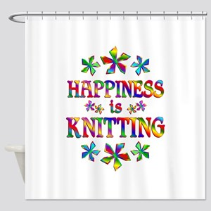 Happiness is Knitting Shower Curtain