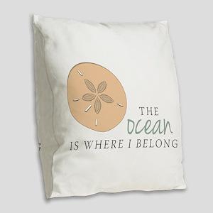 The Ocean Burlap Throw Pillow