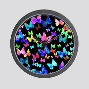 Psychedelic Butterflies Wall Clock
