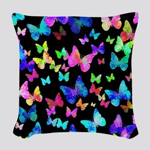 Psychedelic Butterflies Woven Throw Pillow