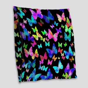 Psychedelic Butterflies Burlap Throw Pillow
