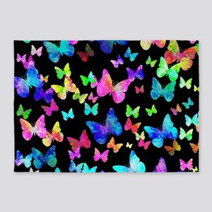 Psychedelic Butterflies 5'x7'Area Rug