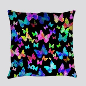 Psychedelic Butterflies Everyday Pillow
