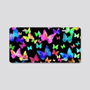 Psychedelic Butterflies Aluminum License Plate