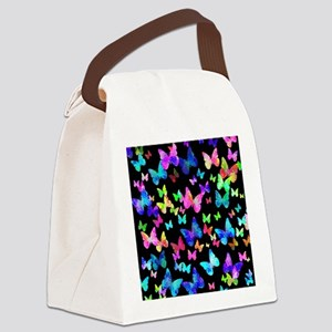 Psychedelic Butterflies Canvas Lunch Bag