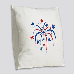 Fireworks Burlap Throw Pillow