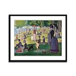 Dog running in Seurat's painting Framed Panel Prin