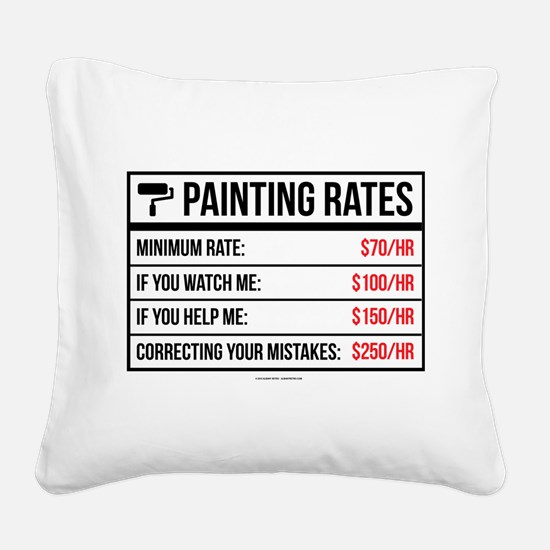 Funny Painting Rates Square Canvas Pillow