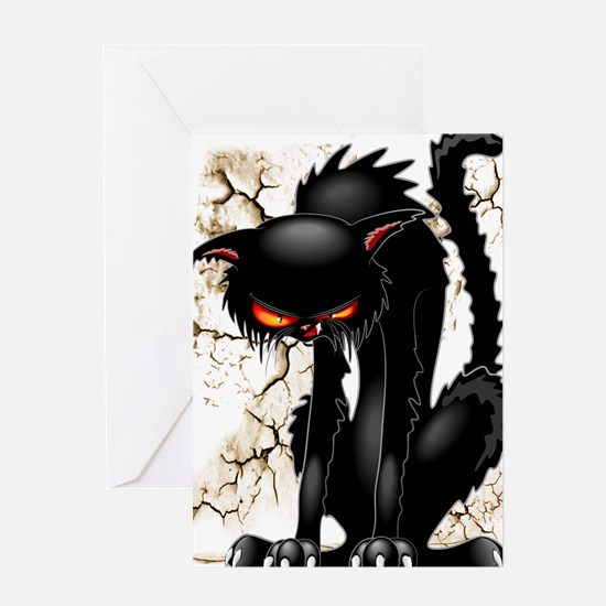 Black Cat Evil Angry Funny Character Greeting Card