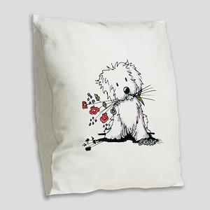 Coton de Tulear Gardener Burlap Throw Pillow
