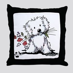 Coton de Tulear Gardener Throw Pillow