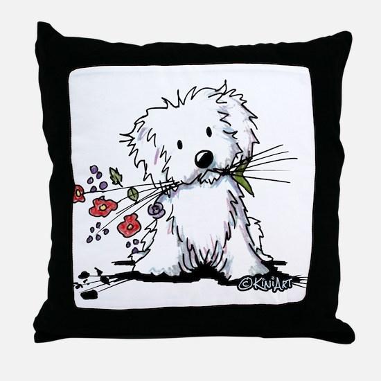 Coton de Tulear Gardener Throw Pillow