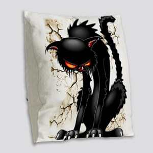 Black Cat Evil Angry Funny Character Burlap Throw