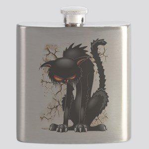 Black Cat Evil Angry Funny Character Flask