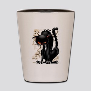 Black Cat Evil Angry Funny Character Shot Glass