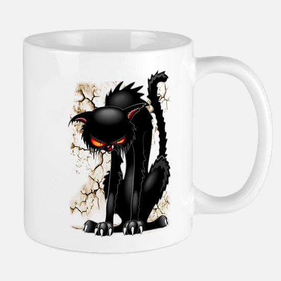 Black Cat Evil Angry Funny Character Mugs