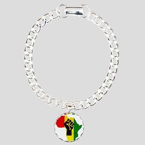 Rasta Black Power Africa Charm Bracelet, One Charm