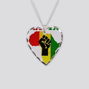 Rasta Black Power Africa Necklace Heart Charm