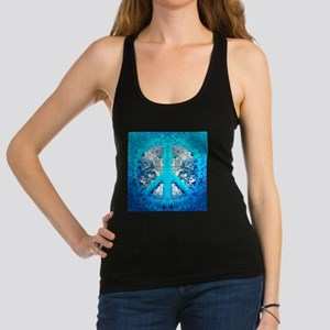 Abstract Blue Peace Sign Racerback Tank Top