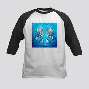 Abstract Blue Peace Sign Baseball Jersey