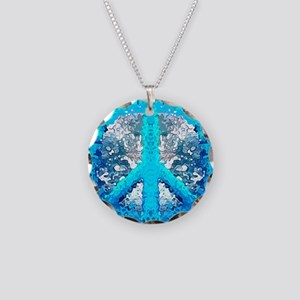 Abstract Blue Peace Sign Necklace