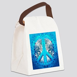 Abstract Blue Peace Sign Canvas Lunch Bag