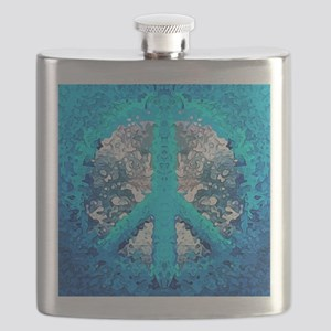 Abstract Blue Peace Sign Flask