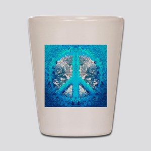 Abstract Blue Peace Sign Shot Glass