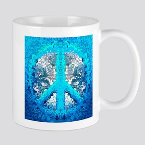 Abstract Blue Peace Sign Mugs