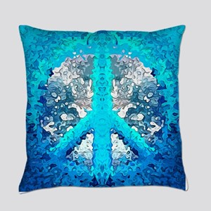 Abstract Blue Peace Sign Everyday Pillow