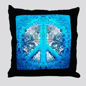 Abstract Blue Peace Sign Throw Pillow