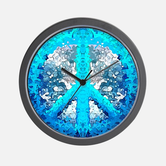 Abstract Blue Peace Sign Wall Clock