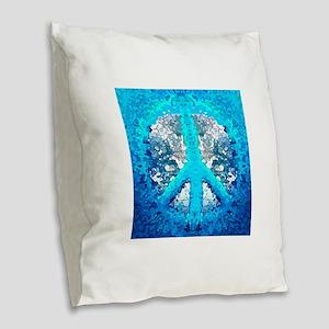 Abstract Blue Peace Sign Burlap Throw Pillow