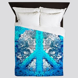 Abstract Blue Peace Sign Queen Duvet