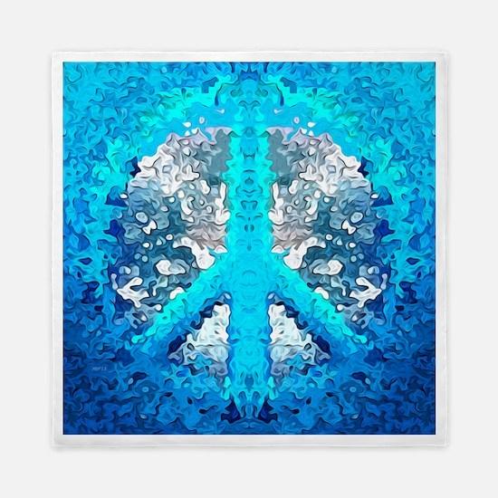 Abstract Blue Peace Sign Queen Duvet