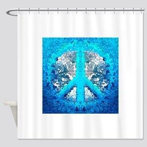 Abstract Blue Peace Sign Shower Curtain