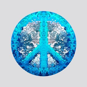 Abstract Blue Peace Sign Button