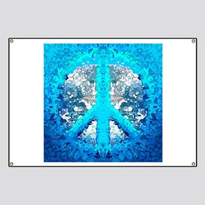 Abstract Blue Peace Sign Banner