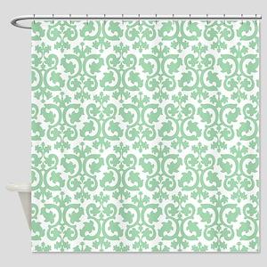 mint damask pattern Shower Curtain