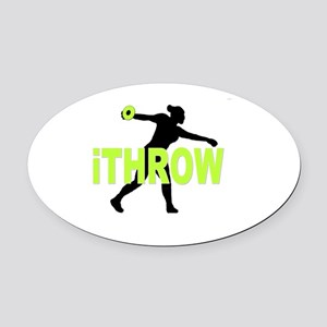 Green Discus Oval Car Magnet