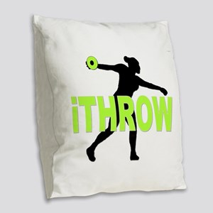 Green Discus Burlap Throw Pillow