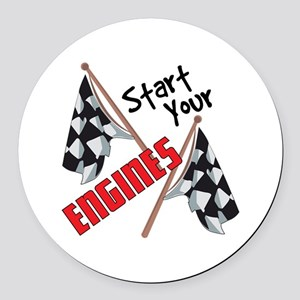 Start Your Engines Round Car Magnet
