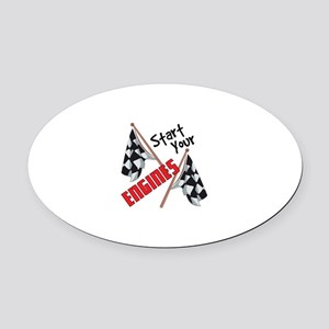Start Your Engines Oval Car Magnet