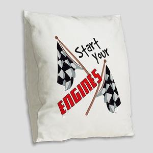 Start Your Engines Burlap Throw Pillow